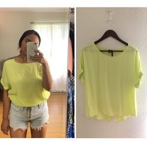 Mango (ASOS) | Neon Yellow Shirt Blouse